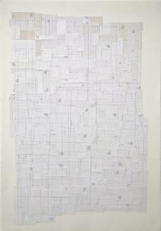 Pedro Cabrita Reis - Il Colosseo - 2012, cartoline tagliate e grafite su carta, 78x108x5 cm