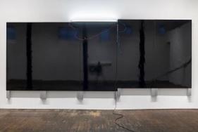 Pedro Cabrita Reis Large Black Painting 2014 Black auto body paint on marine-grade plywood, aluminium tubing, electrical fluorescent light, electrical ballasts, wiring 262 x 625 x 12 cm