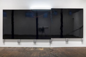 Pedro Cabrita Reis Large Black Painting 2014 Black auto body paint on marine-grade plywood, aluminium tubing, electrical fluorescent light, electrical ballasts, wiring 262 x 625 x 12 cm