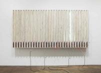 Pedro Cabrita Reis One Left 2014 Enamel on 30 fluorescent lights, wood, aluminium tubing, electrical ballasts, wiring 190 x 363 x 58 cm