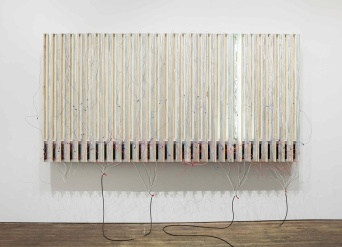 Pedro Cabrita Reis One Left 2014 Enamel on 30 fluorescent lights, wood, aluminium tubing, electrical ballasts, wiring 190 x 363 x 58 cm