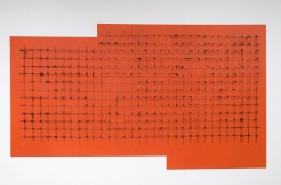 Pedro Cabrita Reis - Una grata su arancio - 2012, acrilico su muro, acciaio, oilbar su ferro trovato zincato, 111,5x196x11 cm