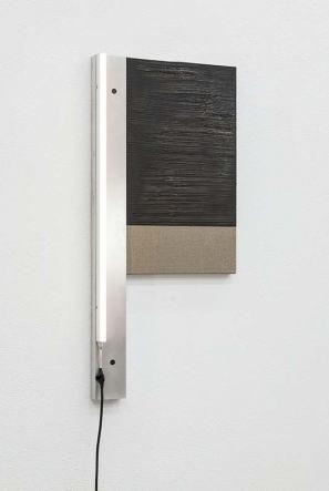 Pedro Cabrita Reis Unframed #19, 2016 Aluminium, Fluorescent light, electrical cable, acrylic on canvas 105 x 49 x 8 cm