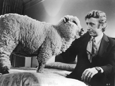 Gene Wilder seduto sul letto con una pecora, 1972