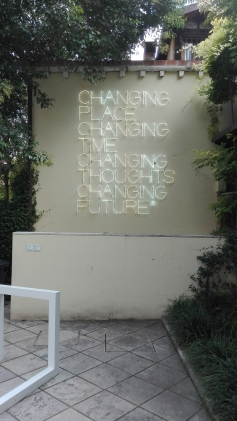 """Changing Place, Changing Time, Changing Thoughts, Changing Future"" (2003) by Maurizio Nannucci @ Peggy Guggenheim Collection"