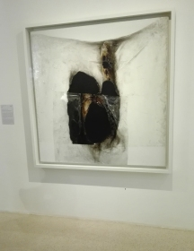 """Bianco B"" (1965) by Alberto Burri @ Peggy Guggenheim Collection"