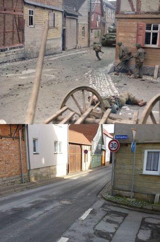 La stessa strada, dopo 69 anni. Le truppe della divisione Armored Division del terzo esercito di Patton si muovono attraverso Oberdorla, nel 1945