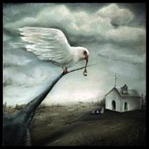 Laura Saddi - 2013. All'uscita della chiesa, olio su tela, cm. 25x 25, 2013