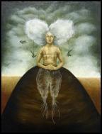 Laura Saddi - 2014. Come un fiore del camposanto, olio su cartone telato, cm.30x40, 2014