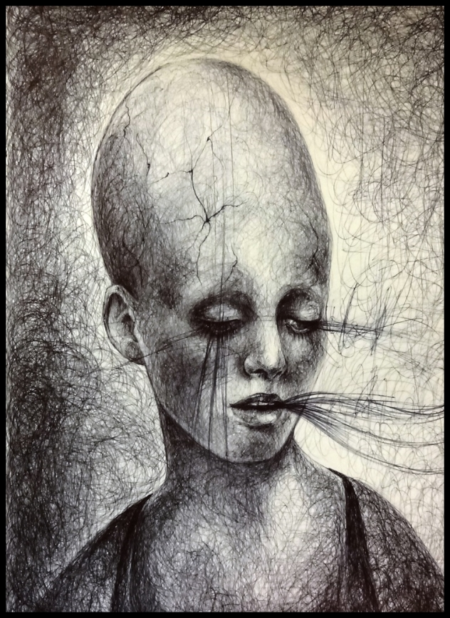 Laura Saddi - 2014. Egyptian, penna bic su carta, 2014