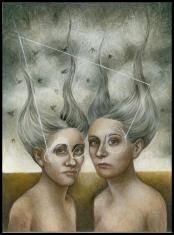 Laura Saddi - 2014. Twins, 30.40, olio su tela, 2014