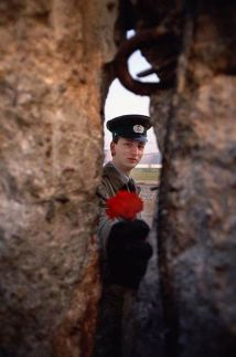 Un soldato tedesco orientale che passa un fiore attraverso il muro di Berlino prima che sia abbattuto (Germania orientale, 1989)