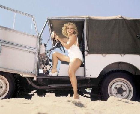 Marilyn Monroe in Land Rover, 1957