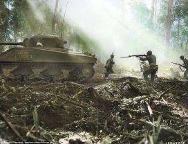 Marine americani in Bougainville, Solomon Islands, (1944)