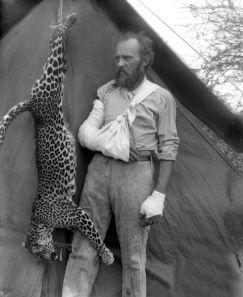 Il conservazionista e tassidermista Carl Akeley posa, con le braccia e le mani fasciate, accanto a un leopardo che ha ucciso a mani nude, Etiopia, 1896. Fotografia da Field Museum Library