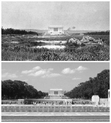 Il Lincoln Memorial nel 1917 rispetto ai giorni nostri. Foto da Library of Congress