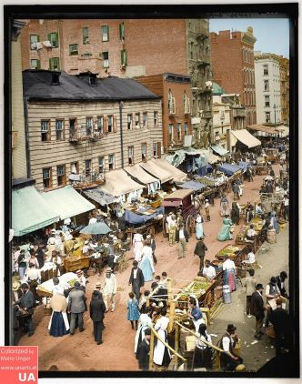 Jewish Market, New York, Upper Eastside, 1895
