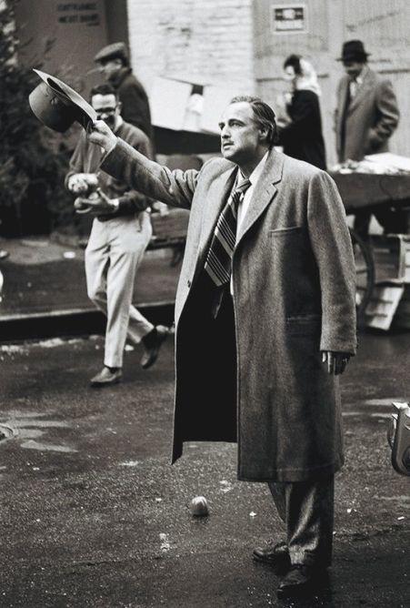 Marlon Brando sul set di The Godfather, 1971