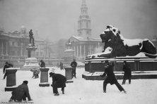 Un gruppo di signori si diverte in una improvvisata battaglia a palle di neve nella tranquilla e maestosa cornice di Trafalgar Square, Londra, circa 1931