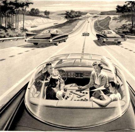 Auto a guida autonoma del futuro, circa 1960