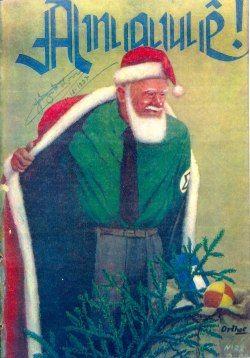 Propaganda anti-Babbo Natale del movimento Integralista (fascismo brasiliano), 1936. Come personaggio folk tedesco / scandinavo, Babbo Natale era considerato una minaccia per la cultura brasiliana