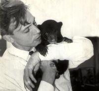 Sir David Attenborough coccola un cucciolo d'orso di nome Benjamin, 1956
