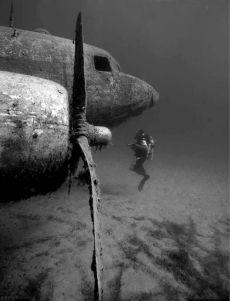 Subacqueo che esamina un vecchio aereo naufragato