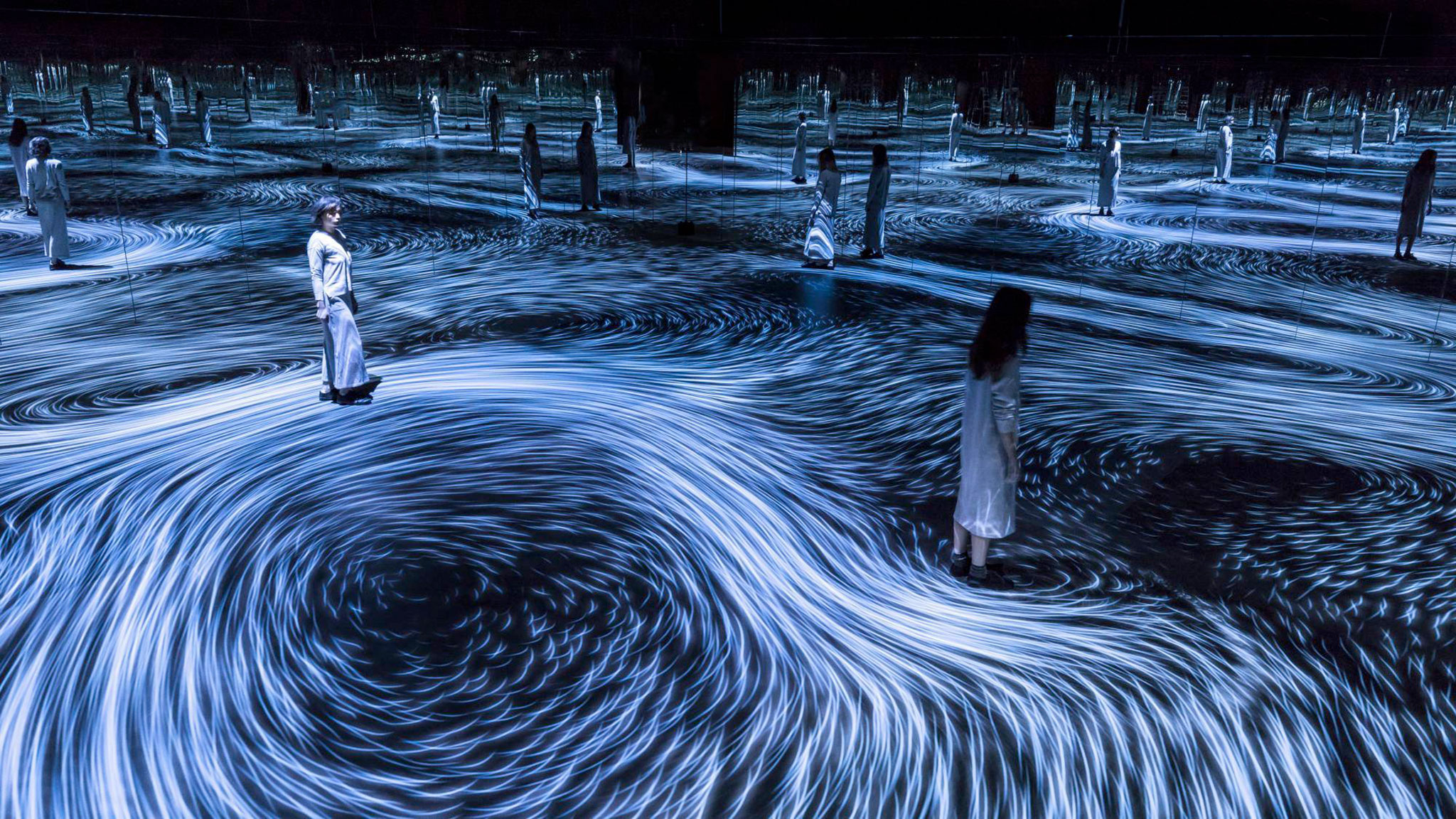 """Moving Creates Vortices and Vortices Create Movement"" by Teamlab"