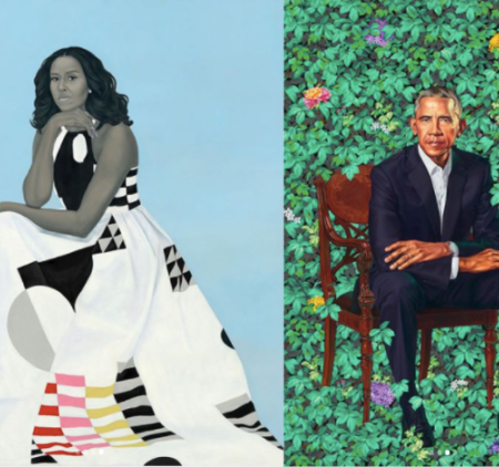 Barack and Michelle Obama by Kehinde Wiley and Amy Sherald
