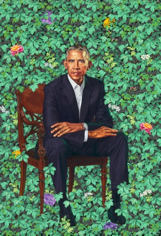 Barack Obama by Kehinde Wiley, oil on canvas, 2018. Courtesy National Portrait Gallery, Smithsonian Institution