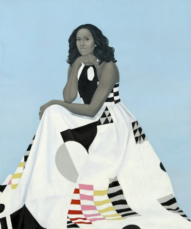 Michelle LaVaughn Robinson Obama by Amy Sherald, oil on linen, 2018. Courtesy National Portrait Gallery, Smithsonian Institution