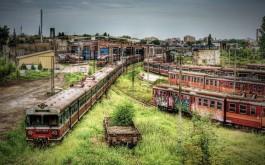 Stazione dei treni abbandonata in Czestochowa, Polonia