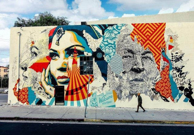 Vhils & Obey Giant @Los Angeles, USA