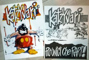 """2 Poster della fanzine """"Katzyvari"""" (edita tra il 1992 e il 1995) con il personaggio """"Kontrol"""" di David Diavù Vecchiato"""