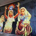 """David Diavù Vecchiato, """"Ego te victima, capio (Cuore Sacro)"""". Mural, via di Boccea Roma – 2018 (per progetto GRAArt)"""