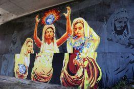 """David Diavù Vecchiato, """"Ego te victima, capio (Cuore Sacro)"""". Mural, via di Boccea Roma - 2018 (per progetto GRAArt)"""
