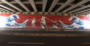 """David Diavù Vecchiato, """"Enea, Anchise e..."""". Mural, viale Luigi Guglielmi Roma - 2017 (per progetto GRAArt)"""