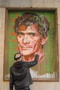 "David Diavù Vecchiato, ""Melting Icons: Pier Paolo Pasolini"". Mural all'esterno dell'ex-Cinema Impero, via dell'Acqua Bullicante Roma - 2014 (foto di Vincenzo De Francesco)"