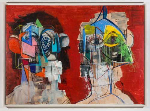 George Condo Double Heads on Red 2014