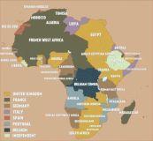 Mappa dell'Africa all'inizio della prima guerra mondiale, 1914