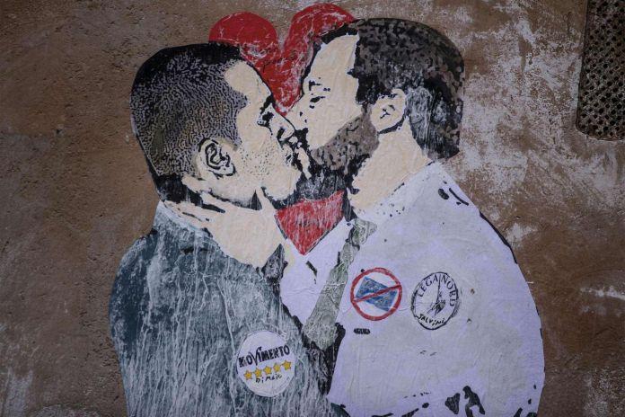 Matteo Salvini and Luigi Di Maio's kiss by Tvboy @Rome, Italy
