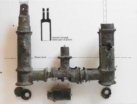 Pompa ad acqua a doppia azione in bronzo, III secolo d.C., romana