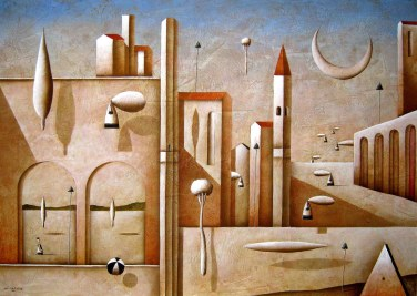 Carlo Mirabasso - Consapevolezza metafisica, oil on board, cm 50x70