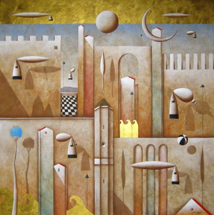Carlo Mirabasso - Espolorazioni simultanee, oil and gold on board, cm 70x70