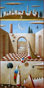 Carlo Mirabasso - Meditation in Tuscany, oil and acrylic on board, cm 40x20