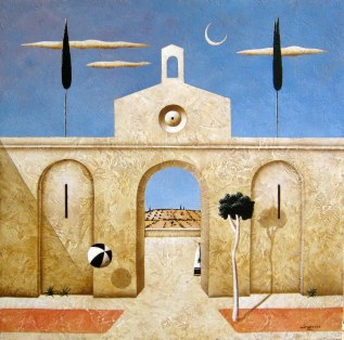 Carlo Mirabasso - Metaphysical moment, oil on board, cm 30x30