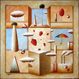 Carlo Mirabasso - Oltre le aspettative, oil on board, cm 50x50