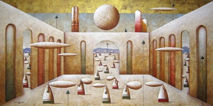 Carlo Mirabasso - Pettegole curiose alla ricerca di nulla, oil and gold on board, cm 30x60