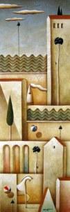 Carlo Mirabasso - Piccolo borgo sul mare, oil on board, cm 60x20