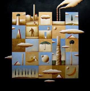 Carlo Mirabasso - Prima che accada, oil and gold on board, cm 70x70